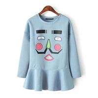 Blue Face Print Loose Flounced Sweatshirt Dress