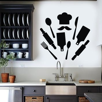 Vinyl Wall Decal Chef Kitchen Restaurant Decor Cook Stickers Unique Gift (ig4092)