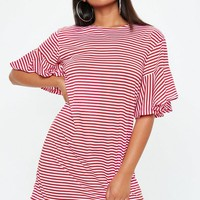 Missguided - Red Frill Sleeve Stripe T-Shirt Dress