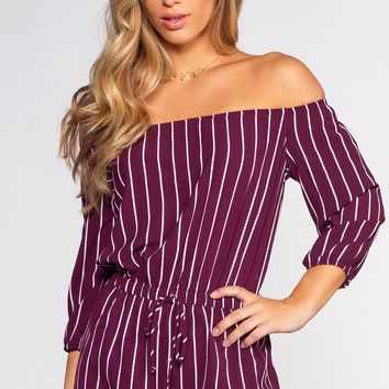 Sizzlin' Off The Shoulder Romper - Plum