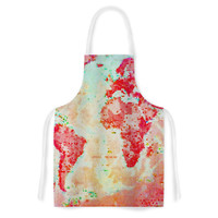 "Alison Coxon ""Oh The Places We'll Go"" World Map Artistic Apron"
