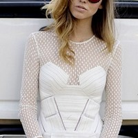 White Sheer Mesh Lace Stripe Long Sleeve Scoop Neck Pleated A Line Flare Mini Dress