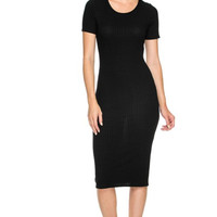 Dressy Short Sleeve Bodycon Midi Dress