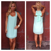 Mint T-Back Bow Tank Dress