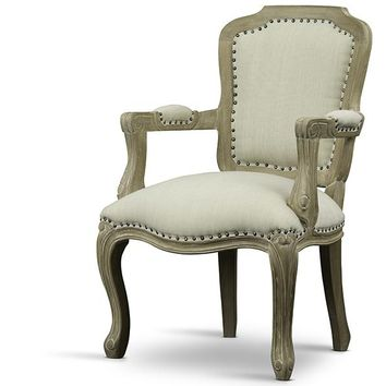 Baxton Studio Poitou Wood Traditional French Accent Chair Set of 1