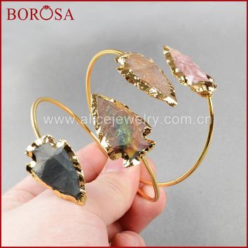 BOROSA Fashion Druzy Bangles , arrowhead Natural Stone Bangles  Gold Quartz Adjustable Bracelet Bangles  G529