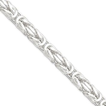 Mens 7.5mm Sterling Silver Square Solid Byzantine Chain Necklace, 20in