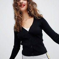 Stradivarius ribbed jersey cardigan at asos.com