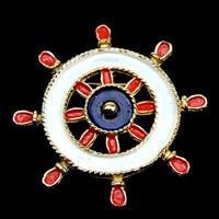 Nautical Ships Wheel Brooch in Patriotic Red White and Blue Enamel on Gold Tone
