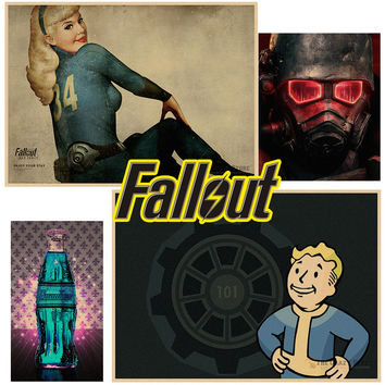 Game poster for Fallout shelter pc games poster Vintage retro Posters Wall Sticker