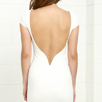 Daring Dame Ivory Backless Bodycon Dress