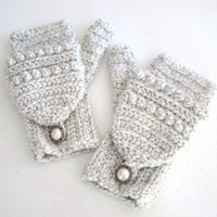 White and Gray Salt and Pepper Mittens Convertible Fingerless Crochet Mittens Winter Fashion