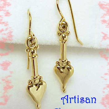 14K Gold - My Heart's In Love - Victorian Contemporary Heart Artisan Earrings