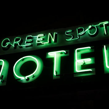 Green Spot Motel Retro Neon Sign, Route 66 Decor, Vintage Sign Photography, Mid Century Modern Decor,Vintage Neon Sign, Old Neon Sign