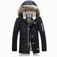 Men's Khaki/Green Thick Minus 40 Degrees Super Warm Winter Coat Mid Long Slim Down Parkas Coat