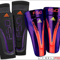 adidas F50 Pro Lite Shin Guards - Anodized Purple with Infrared - SoccerPro.com