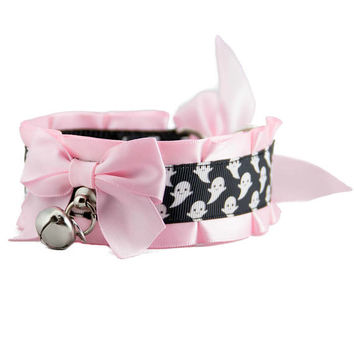 Pink Kitten Play Collar, Pet Play Collar, DDlg Collar, Tug Proof Collar, BDSM Collar, Kitten Play Gear, Spooky Ghost by Dolled Up Kitten