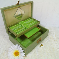 Vintage Sage Green Wooden Jewelry Box with Lime Green Velvet Interior, Secret Compartment Slide Out Drawer, Mirror & Original Working Key