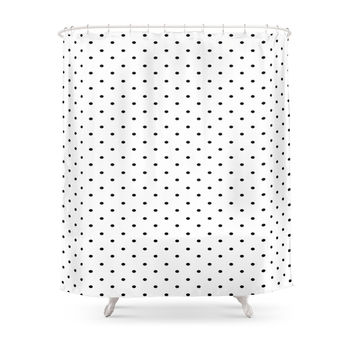 Society6 Black & White Polka Dots Shower Curtain