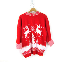 Retro Xmas Reindeer Sweater 1980s Christmas Sweater Snowflakes Red & White Winter Sweater 1980s Holiday Novelty Vintage party winner L XL
