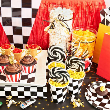 Black and White Check Birthday Basic Party Pack