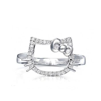 Real 925 Sterling Silver Ring Opening Cute Cats Hello Kitty Rings For Girls Women Fine Jewellery New Fashion