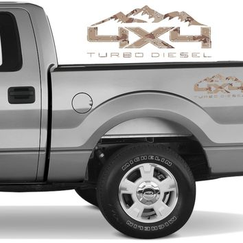 4X4 TURBO DIESEL MTN Bedside Desert Decal Fit Ford 2008-2017 F150-250 SUPER DUTY