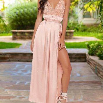 New Apricot Patchwork Sequin Spaghetti Strap Backless Pleated V-neck Sparkly Glitter Birthday Elegant Party Maxi Dress
