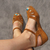 70's wedge gold suede sandals by StarShineVintage on Etsy