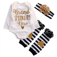 Newborn Infant Baby Girls Clothes Gold Letter Cotton Romper Heart Leg Warmer Headband 3pcs Outfit Toddler Kids Clothing Set