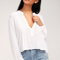 Ladera White Long Sleeve Top