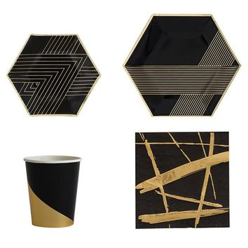 Black Type High-end Gold Blocking Disposable Tableware Set Paper Plates Cups Napkins Party Wedding Carnival Tableware Supplies