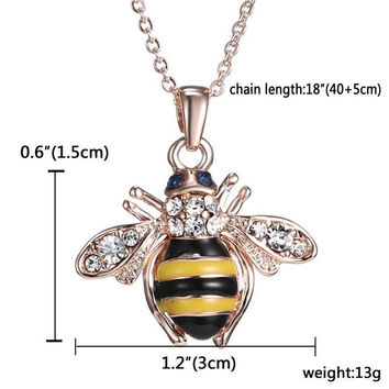 Cute Solid Little Bee Pendant Animal Necklace for Women 18K Rose Gold Plated Jewelry SM6