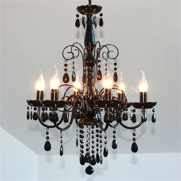 Black Elegant 6 Light Crystal Chandelier