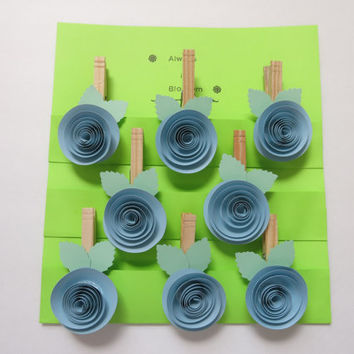pastel Blue rose clothespin magnets 8 paper flower kitchen bag clips office organization work order holder photo display bridal shower favor
