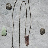 FLUORITE POINT PENDANT - long necklace drilled stone brass chain - Charlie Girl Gems