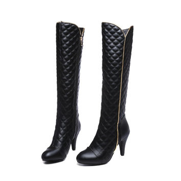 Quilted Knee High Boots up to Size 12 (27cm - EU 44)