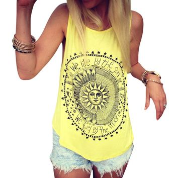 New Summer Vest Womens Sexy Tops Black Round Neck Sleeveless Vintage Sun Printed Fitness Casual Tank Tops T-shirt Female Blusas