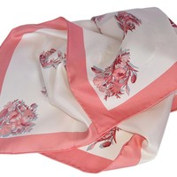Gucci Women's 394545 GG Floral Print Silk Twill Neck Scarf (White/Pink)