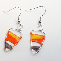 Dangle resin earring. Resin Jewelry. Silver Wire Jewelry. yellow orange Grey. Gifts for her. nickel free handmade jewelry, dangle and drop