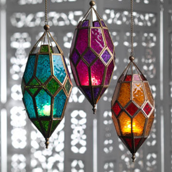 Moroccan Large Hanging Glass Lantern