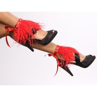 Ankle Fringe Wraps in Red Feathers by lindaberkcollection on Etsy