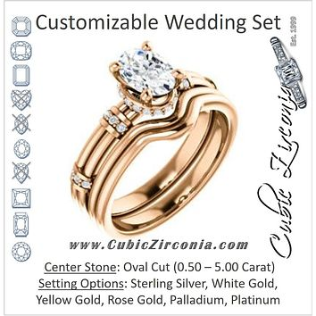 CZ Wedding Set, featuring The Jayla engagement ring (Customizable Oval Cut Style with Under-Halo & Horizontal Band Accents)