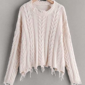 Drop Shoulder Frayed Trim Cable Knit Sweater