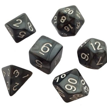 Pack of 7 Polyhedral Dice (7 Die in Set) | Role Playing Game Dice | D4, D6, D8, D10, D%, D12, and D20 | Black Marbled Color