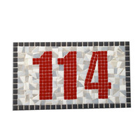 Mosaic Address Sign, Red and Gray House Numbers