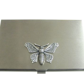 Silver Toned Large Butterfly Bug Insect Pendant Business Card Holder