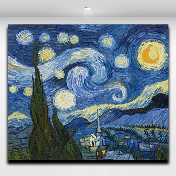 Van Gogh Starry Night Reproduction Oil Painting Canvas Print Wall Art Picture for Living Room Cafe Wall Decoration