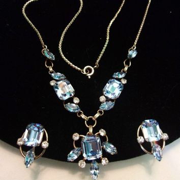 Van Dell Blue Ice Glass Rhinestone 12K Gold Fill Sweet Heart Pendant Necklace & Earrings Vintage Set