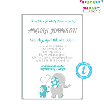 Teal and Grey Elephant Baby Shower Invitation, Editable Invitation Template, Elephant Invitation Girl Boy, Elephant Invites, Download ELTBG